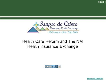 Return to KaiserEDU Tutorials Figure 1 Health Care Reform and The NM Health Insurance Exchange.