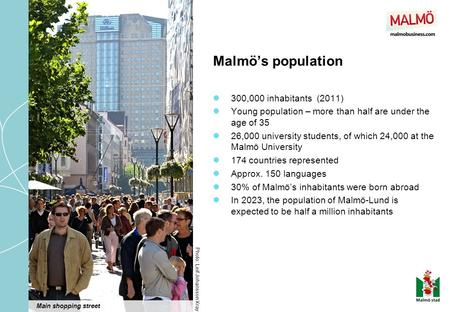 Malmö's population 300,000 inhabitants (2011) Young population – more than half are under the age of 35 26,000 university students, of which 24,000 at.