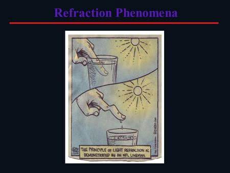 Refraction Phenomena. Apparent Depth & Volume Refraction can change the perception of depth and volume because the apparent path of light does not equal.