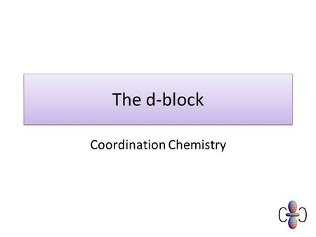 The d-block Coordination Chemistry. Objectives Must Explain and use the terms ligand/complex/complex ion and ligand substitutions. Should Describe the.