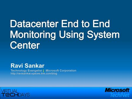 Ravi Sankar Technology Evangelist | Microsoft Corporation