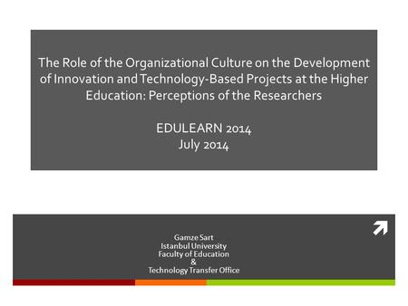  The Role of the Organizational Culture on the Development of Innovation and Technology-Based Projects at the Higher Education: Perceptions of the Researchers.