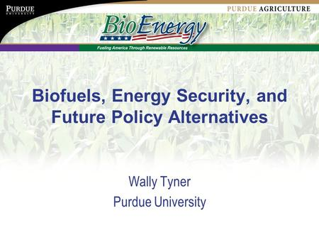Biofuels, Energy Security, and Future Policy Alternatives Wally Tyner Purdue University.
