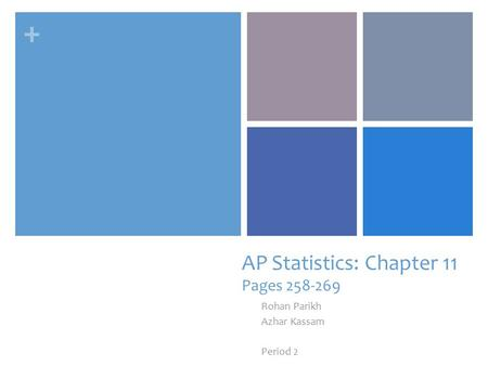+ AP Statistics: Chapter 11 Pages 258-269 Rohan Parikh Azhar Kassam Period 2.