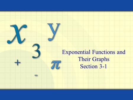 Exponential Functions and Their Graphs Section 3-1.