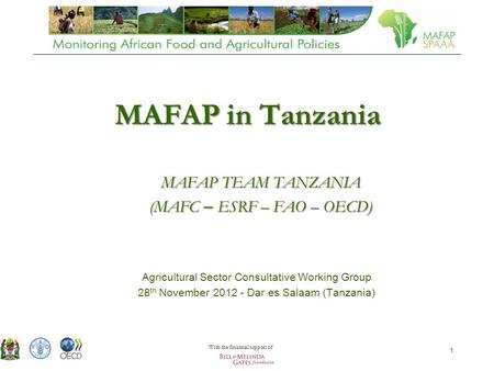 Agricultural Sector Technical Working Group 28 th November 2012 - Dar es Salaam (Tanzania) 1 MAFAP in Tanzania Agricultural Sector Consultative Working.
