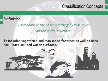Definition Land cover is the observed (bio)physical cover on the earth's surface on the earth's surface. It includes vegetation and man-made features as.