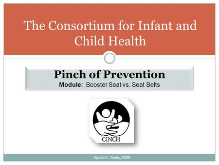 The Consortium for Infant and Child Health Pinch of Prevention Module: Booster Seat vs. Seat Belts Pinch of Prevention Module: Booster Seat vs. Seat Belts.