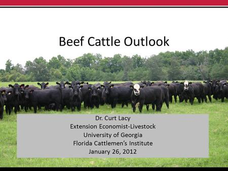 Beef Cattle Outlook Dr. Curt Lacy Extension Economist-Livestock University of Georgia Florida Cattlemen's Institute January 26, 2012.