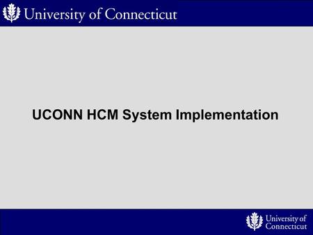 UCONN HCM System Implementation