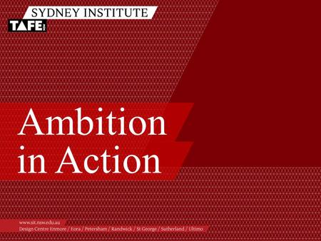 Ambition in Action. Ambition in Action www.sit.nsw.edu.au Presenters /Beatriz Aroche /Library Manager – Ultimo college library /Anna Sin /Educational.