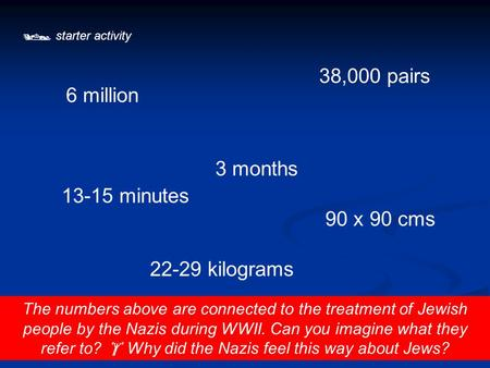  starter activity The numbers above are connected to the treatment of Jewish people by the Nazis during WWII. Can you imagine what they refer to?  Why.
