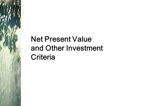 Net Present Value and Other Investment Criteria. Good Decision Criteria We need to ask ourselves the following questions when evaluating capital budgeting.
