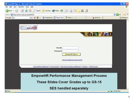 1 EmpowHR Performance Management Process These Slides Cover Grades up to GS-15 SES handled separately.