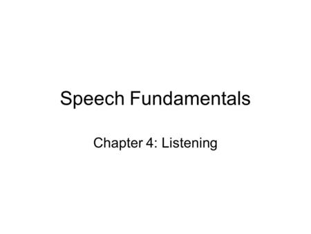 Speech Fundamentals Chapter 4: Listening.