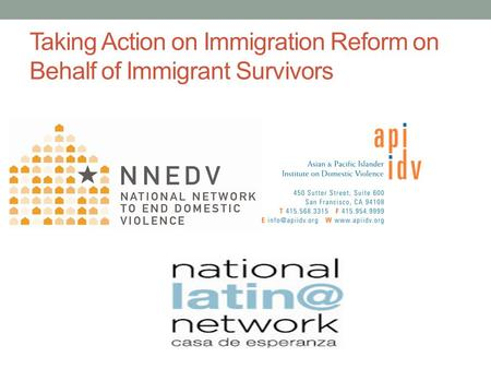 Taking Action on Immigration Reform on Behalf of Immigrant Survivors.