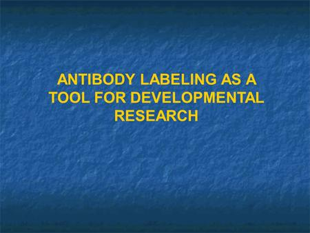 ANTIBODY LABELING AS A TOOL FOR DEVELOPMENTAL RESEARCH.