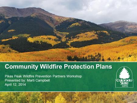 Community Wildfire Protection Plans Pikes Peak Wildfire Prevention Partners Workshop Presented by: Marti Campbell April 12, 2014.