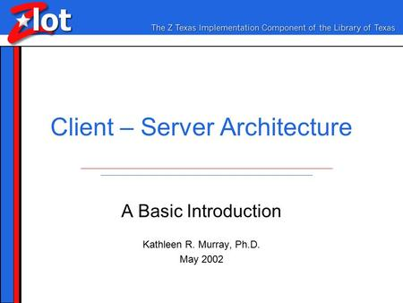 Client – Server Architecture A Basic Introduction Kathleen R. Murray, Ph.D. May 2002.