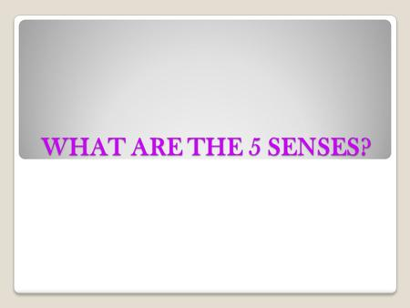 WHAT ARE THE 5 SENSES? Learning Objectives Health information. The student knows the basic structures and functions of the human body and how they relate.