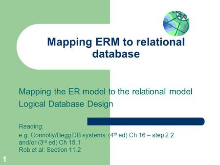 Mapping ERM to relational database