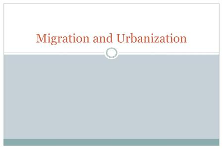 Migration and Urbanization. Three great changes in the pattern and organization of human settlement The transition from hunting and fishing to agriculture.