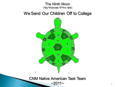 The Ninth Moon (Yey^thokwas W^hni tale) We Send Our Children Off to College CNM Native American Task Team ~2011~ 1.