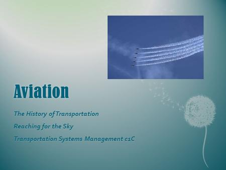 Aviation The History of Transportation Reaching for the Sky Transportation Systems Management c1C.