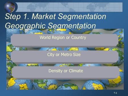 7-1 Density or Climate City or Metro Size World Region or Country Step 1. Market Segmentation Geographic Segmentation.