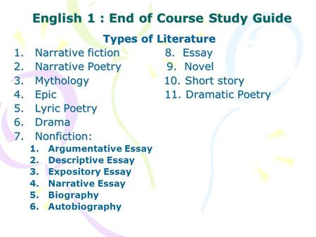 English 1 : End of Course Study Guide