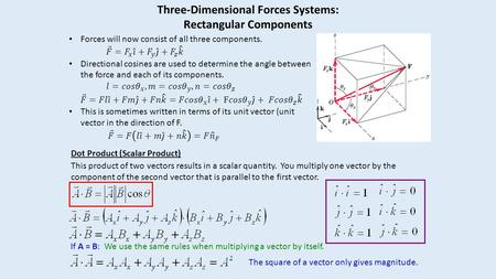 Three-Dimensional Forces Systems: Rectangular Components Dot Product (Scalar Product) This product of two vectors results in a scalar quantity. You multiply.