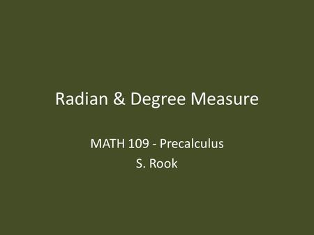 Radian & Degree Measure