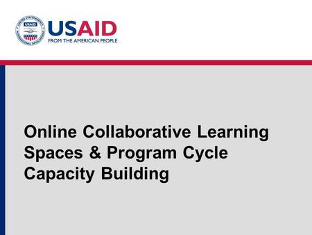 Online Collaborative Learning Spaces & Program Cycle Capacity Building.