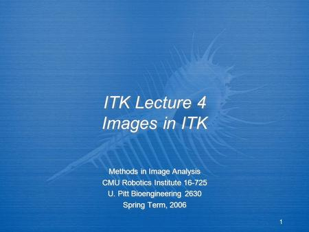 1 ITK Lecture 4 Images in ITK Methods in Image Analysis CMU Robotics Institute 16-725 U. Pitt Bioengineering 2630 Spring Term, 2006 Methods in Image Analysis.