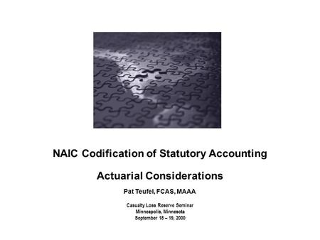 Casualty Loss Reserve Seminar Minneapolis, Minnesota September 18 – 19, 2000 NAIC Codification of Statutory Accounting Actuarial Considerations Pat Teufel,