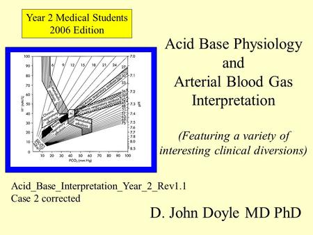 Acid Base Physiology and Arterial Blood Gas Interpretation (Featuring a variety of interesting clinical diversions) D. John Doyle MD PhD Year 2 Medical.