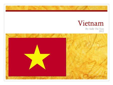Vietnam By: Sally Thi Tran 2012. Vietnam Vietnam is an Asian country It has about 58 provinces Their flag has a star on it Their country's colors are.