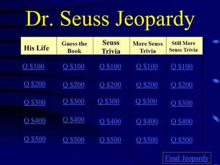 Dr. Seuss Jeopardy His Life Guess the Book Seuss Trivia More Seuss Trivia Still More Seuss Trivia Q $100 Q $200 Q $300 Q $400 Q $500 Q $100 Q $200 Q $300.