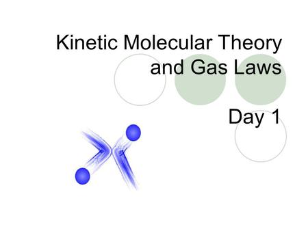 Kinetic Molecular Theory and Gas Laws Day 1. Kinetic-Molecular Theory – explains how particles in matter behave 1. All matter is composed of small particles.