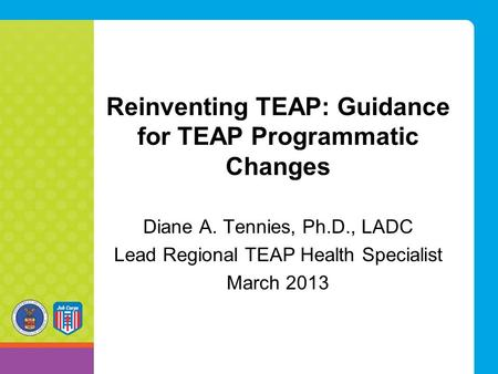 Reinventing TEAP: Guidance for TEAP Programmatic Changes Diane A. Tennies, Ph.D., LADC Lead Regional TEAP Health Specialist March 2013.