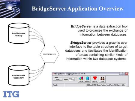 BridgeServer Application Overview BridgeServer is a data extraction tool used to organize the exchange of information between databases. BridgeServer provides.