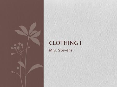 Mrs. Stevens CLOTHING I. Career PATHWAYS – Which path are you on? Click for link.