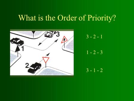 What is the Order of Priority? 1 - 2 - 3 3 - 1 - 2 3 - 2 - 1.