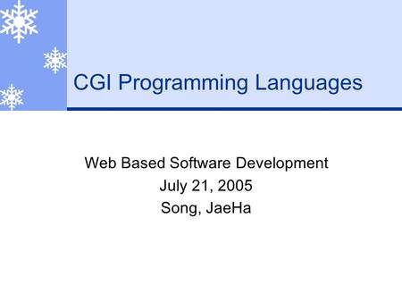 CGI Programming Languages Web Based Software Development July 21, 2005 Song, JaeHa.