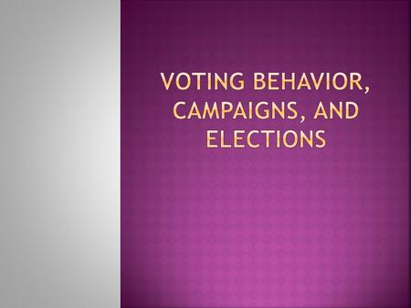 campaigns and voting behavior View notes - chapter 9 notes from history #165 at hunterdon central high chapter 9: campaigns and voting behavior by: jack krupinski, kevin leach, eric zhan, and josh radomsky quizlet.