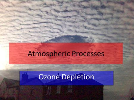 Atmospheric Processes Ozone Depletion. Quick recap… The ozone layer refers to the ozone within stratosphere over 90% of the earth's ozone resides Ozone.