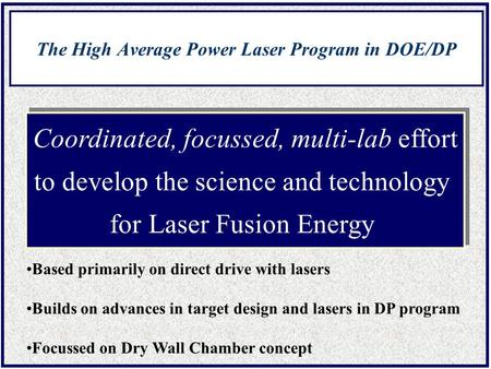 The High Average Power Laser Program in DOE/DP Coordinated, focussed, multi-lab effort to develop the science and technology for Laser Fusion Energy Coordinated,