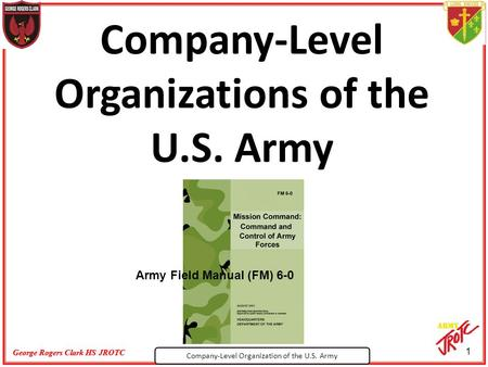 Company-Level Organization of the U.S. Army George Rogers Clark HS JROTC 1 Company-Level Organizations of the U.S. Army Army Field Manual (FM) 6-0.