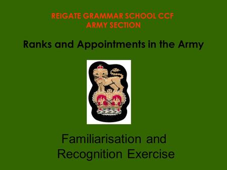 Ranks and Appointments in the Army