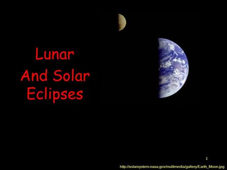 1 Lunar And Solar Eclipses